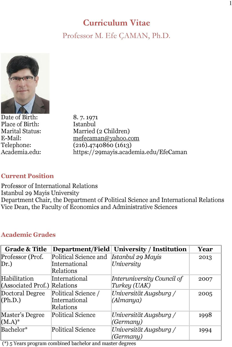 edu/efecaman Current Position Professor of International Relations Istanbul 29 Mayis University Department Chair, the Department of Political Science and International Relations Vice Dean, the