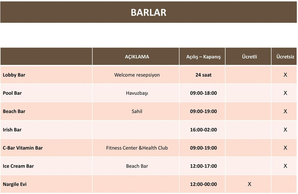 09:00-19:00 X Irish Bar 16:00-02:00 X C-Bar Vitamin Bar Fitness Center