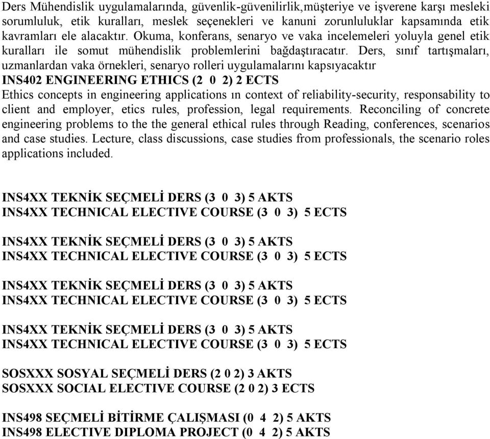 Ders, sınıf tartışmaları, uzmanlardan vaka örnekleri, senaryo rolleri uygulamalarını kapsıyacaktır INS402 ENGINEERING ETHICS (2 0 2) 2 ECTS Ethics concepts in engineering applications ın context of