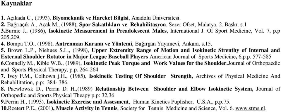 15. 5. Brown L.P., Niehues S.L., (1998), Upper Extremity Range of Motion and Isokinetic Strenthy of Internal and External Shoulder Rotator in Major League Baseball Players American Journal of Sports Medicine, 6,p.