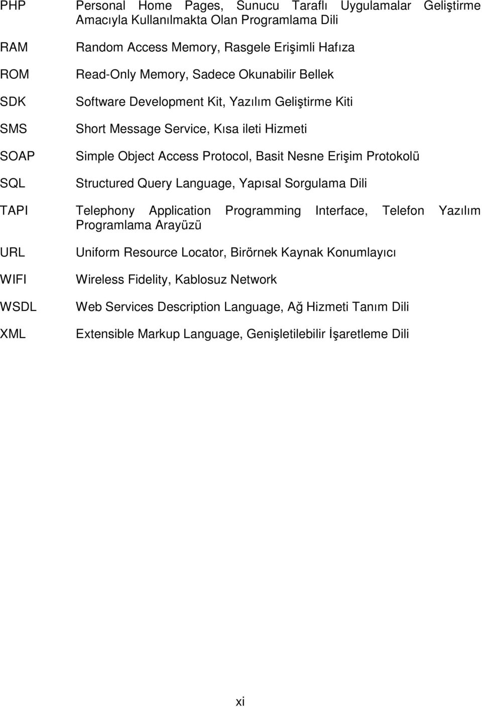 Protokolü Structured Query Language, Yapısal Sorgulama Dili TAPI Telephony Application Programming Interface, Telefon Yazılım Programlama Arayüzü URL WIFI WSDL XML Uniform Resource