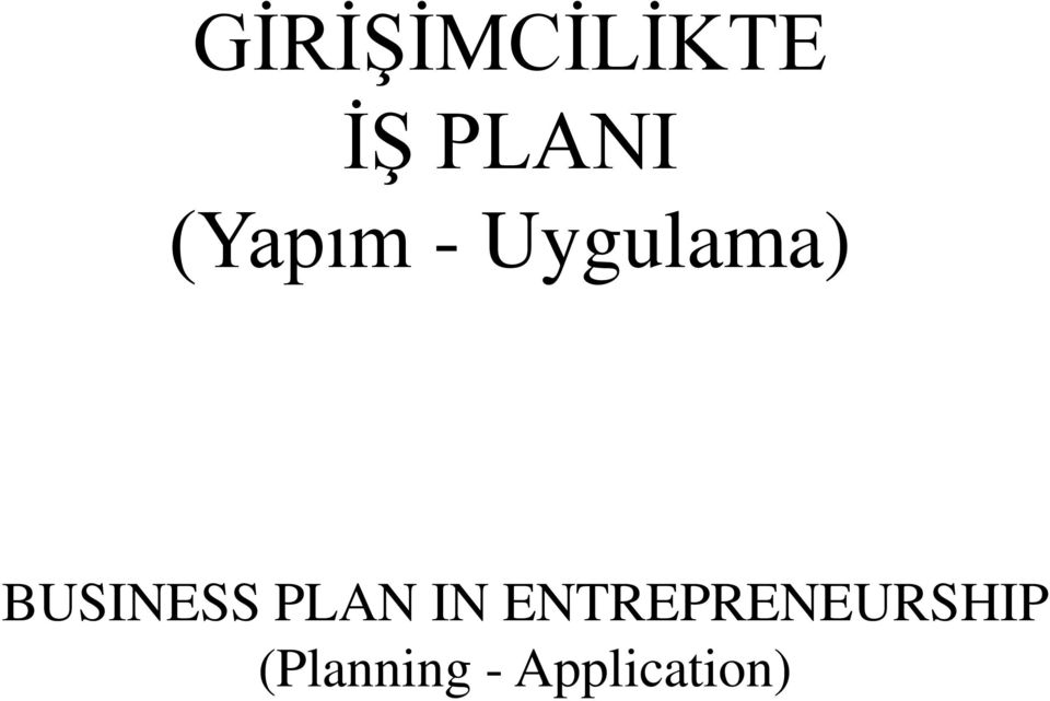 BUSINESS PLAN IN