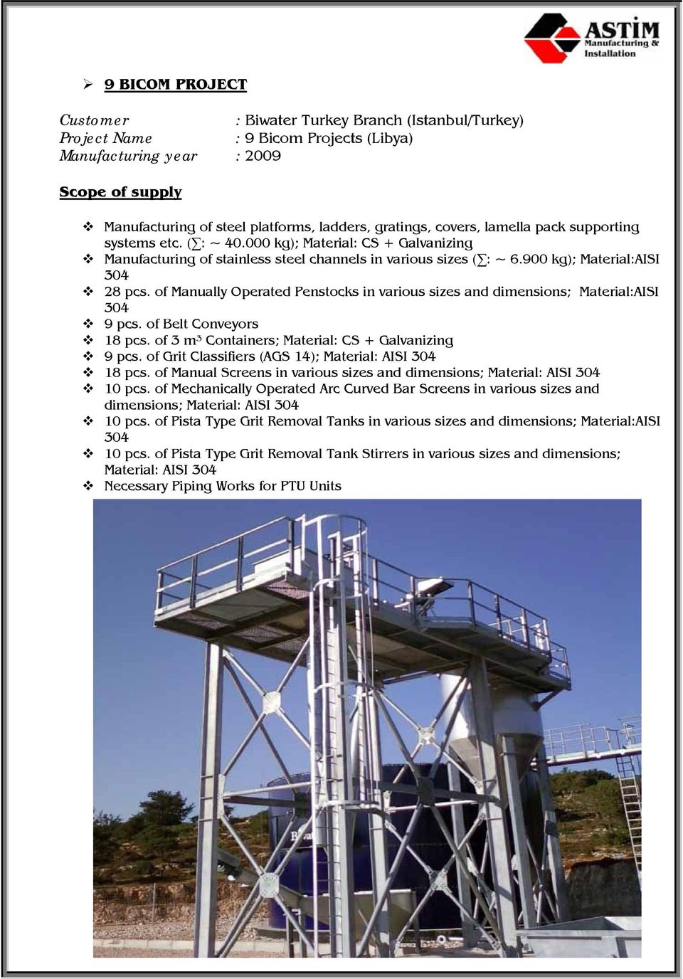 900 kg); Material:AISI 304 28 pcs. of Manually Operated Penstocks in various sizes and dimensions; Material:AISI 304 9 pcs. of Belt Conveyors 18 pcs.
