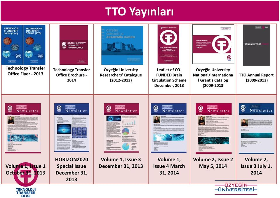 Grant s Catalog (2009-2013 TTO Annual Report (2009-2013) Volume 1, Issue 1 October 31, 2013 HORIZON2020 Special Issue December 31,