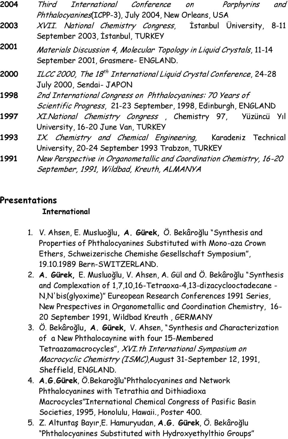 2000 ILCC 2000, The 18 th International Liquid Crystal Conference, 24-28 July 2000, Sendai- JAPON 1998 2nd International Congress on Phthalocyanines: 70 Years of Scientific Progress, 21-23 September,