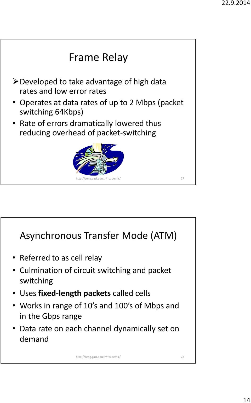 Transfer Mode (ATM) Referred to as cell relay Culmination of circuit switching and packet switching Uses fixed length