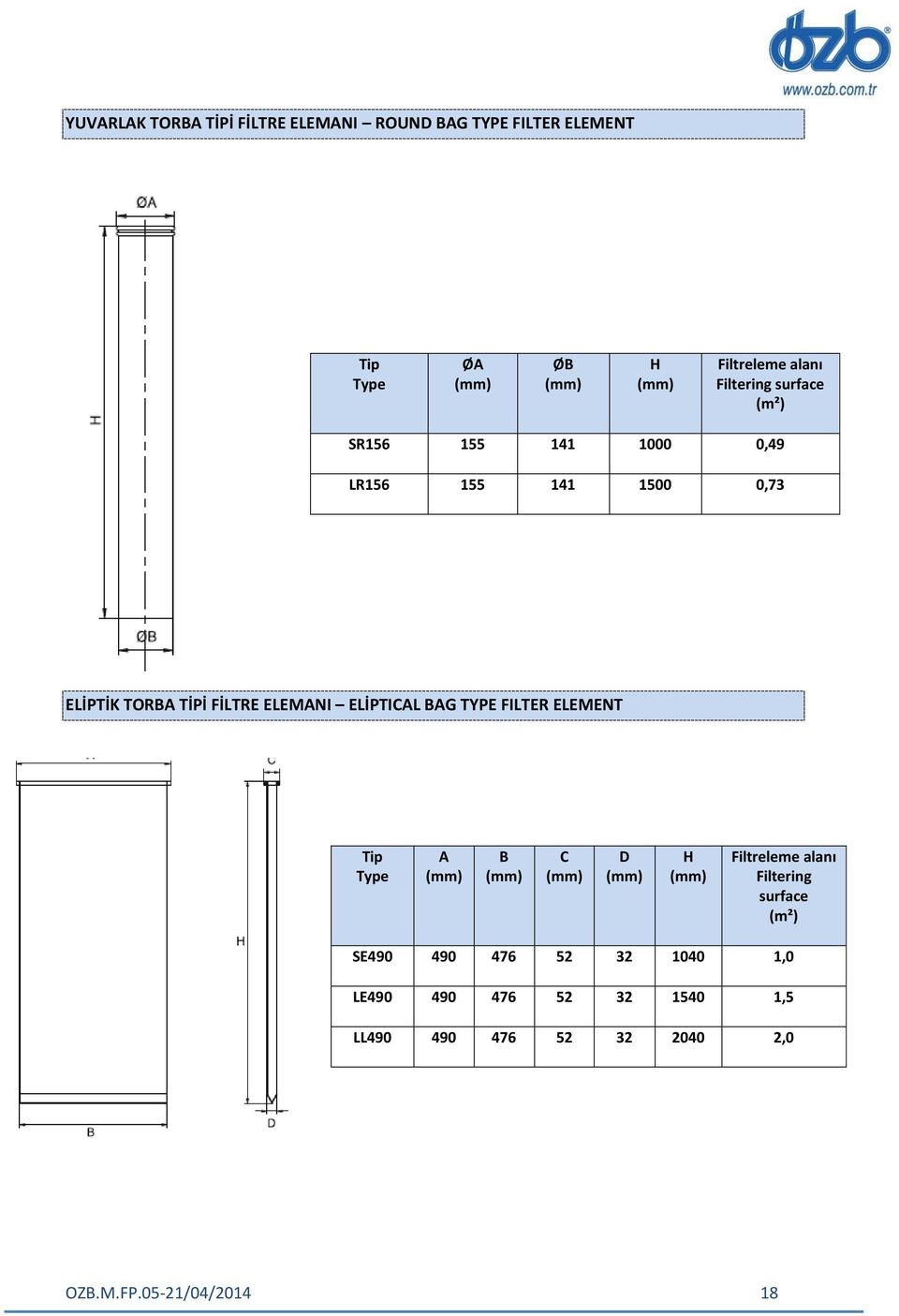 ELİPTICAL BAG TYPE FILTER ELEMENT Tip Type A (mm) B (mm) C (mm) D (mm) H (mm) Filtreleme alanı Filtering surface