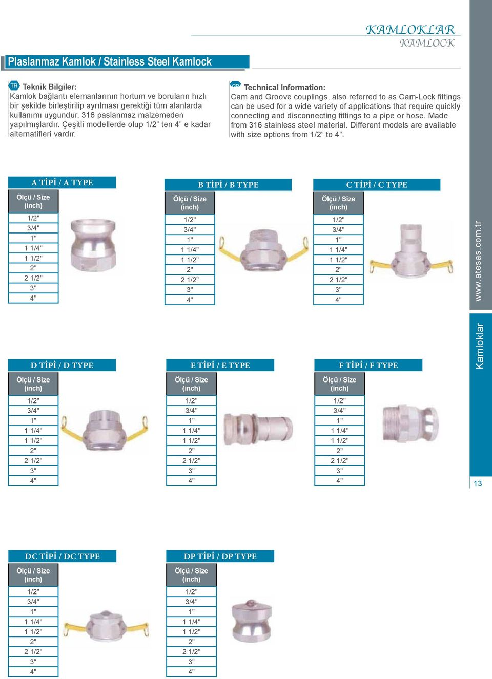 Cam and Groove couplings, also referred to as Cam-Lock fittings can be used for a wide variety of applications that require quickly connecting and disconnecting fittings to a pipe or hose.