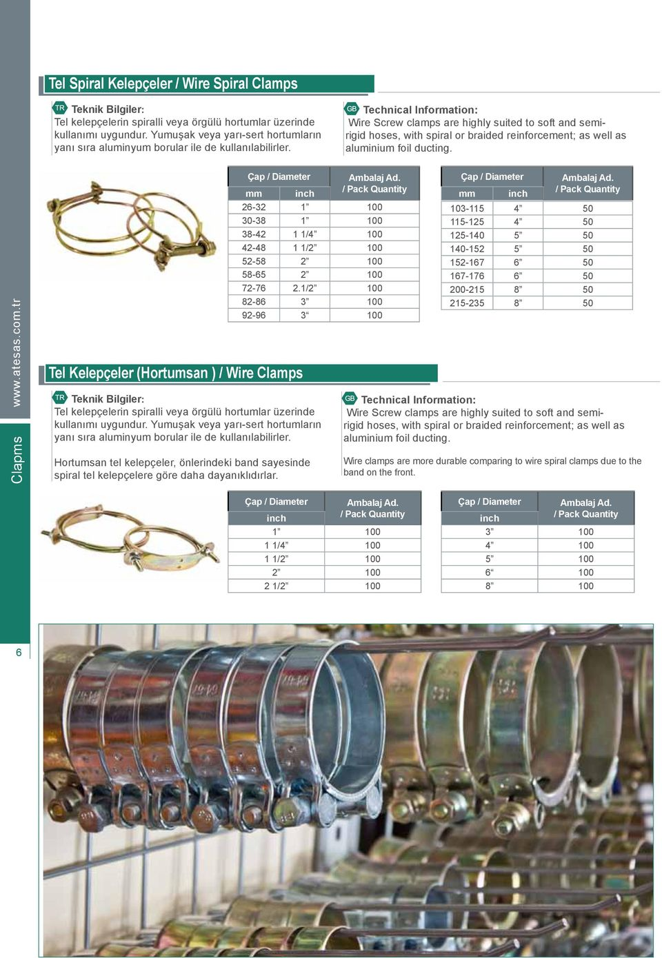 Wire Screw clamps are highly suited to soft and semirigid hoses, with spiral or braided reinforcement; as well as aluminium foil ducting. 6Clapms www.atesas.com.