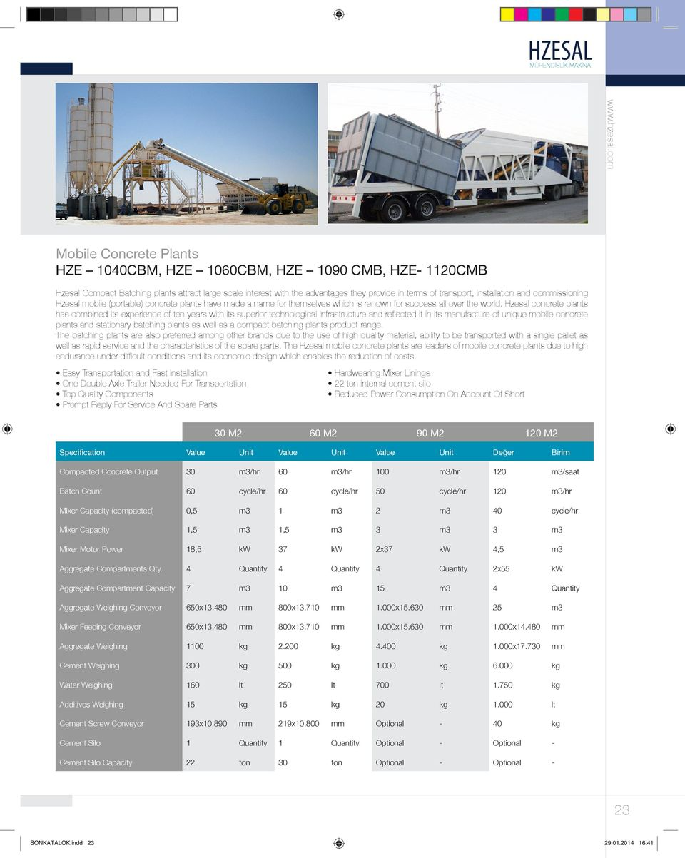 Hzesal concrete plants has combined its experience of ten years with its superior technological infrastructure and reflected it in its manufacture of unique mobile concrete plants and stationary