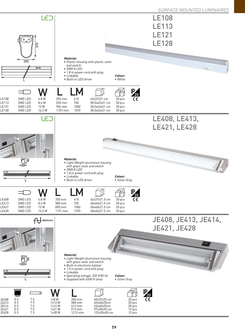 housing with plastic cover and switch 3000 K LED 1.8 m power cord with plug Linkable Built-in LED driver L LM hite SMD LED 4.8 296 mm 410 42x37x21 cm 30 pcs SMD LED 8.4 525 mm 720 58.