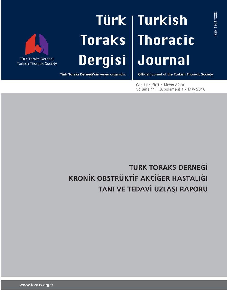 Official journal of the Turkish Thoracic Society Cilt 11 Ek 1 Mayıs 2010