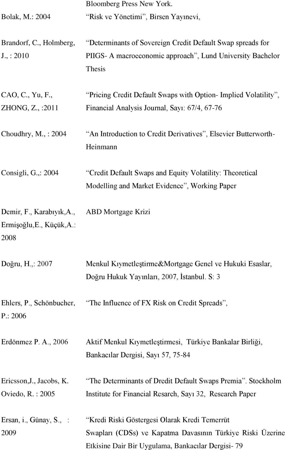 , :2011 Pricing Credit Default Swaps with Option- Implied Volatility, Financial Analysis Journal, Sayı: 67/4, 67-76 Choudhry, M.