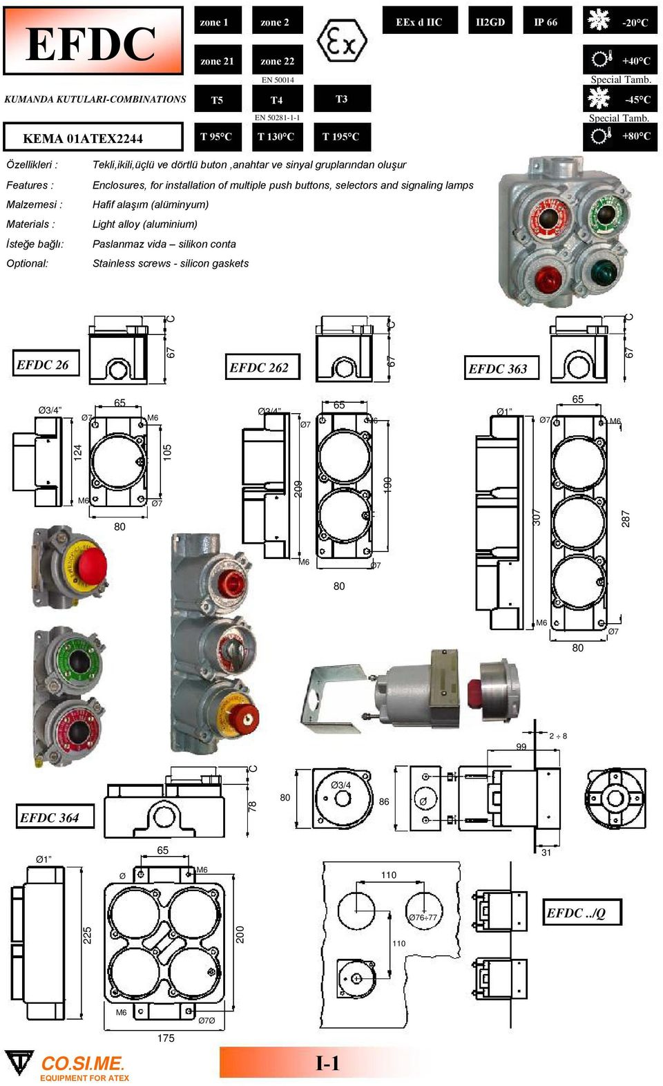 buton,anahtar ve sinyal gruplarından oluşur Enclosures, for installation of multiple push buttons, selectors and signaling lamps Hafif