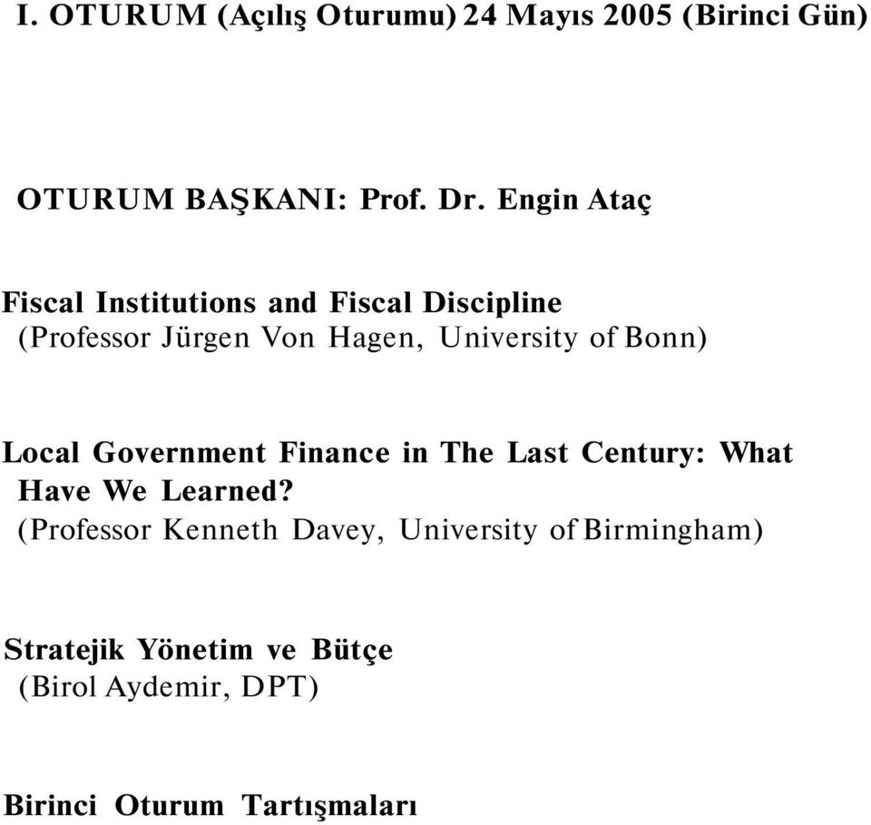 of Bonn) Local Government Finance in The Last Century: What Have We Learned?