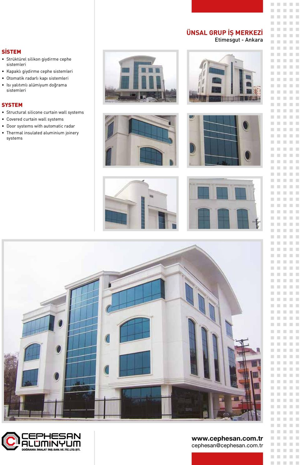 doğrama Structural silicone curtain wall systems Covered curtain wall