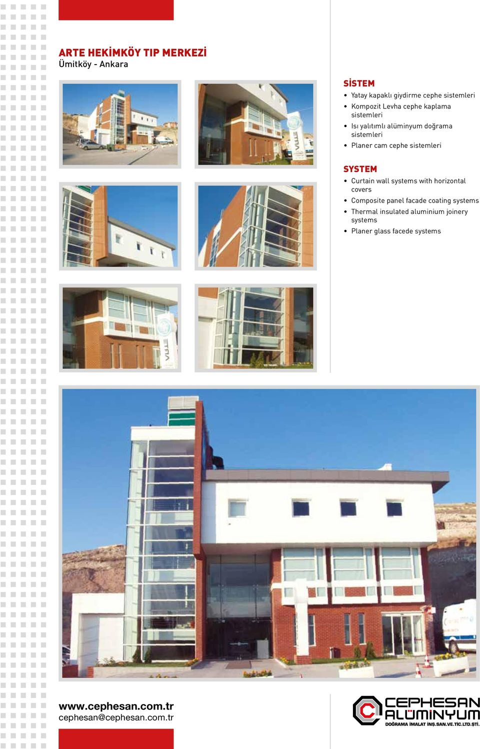 cephe Curtain wall systems with horizontal covers Composite panel facade