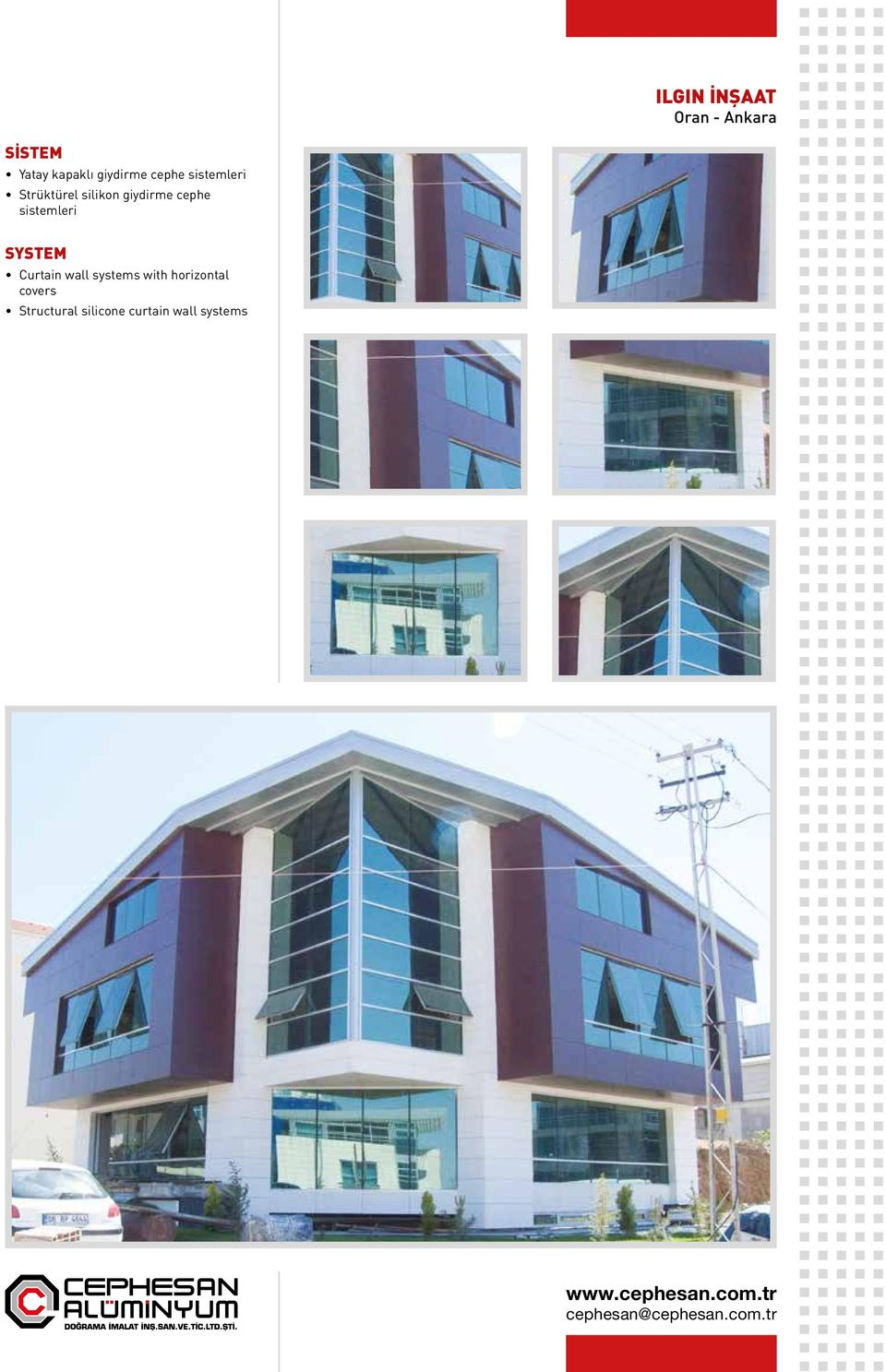 cephe Curtain wall systems with horizontal