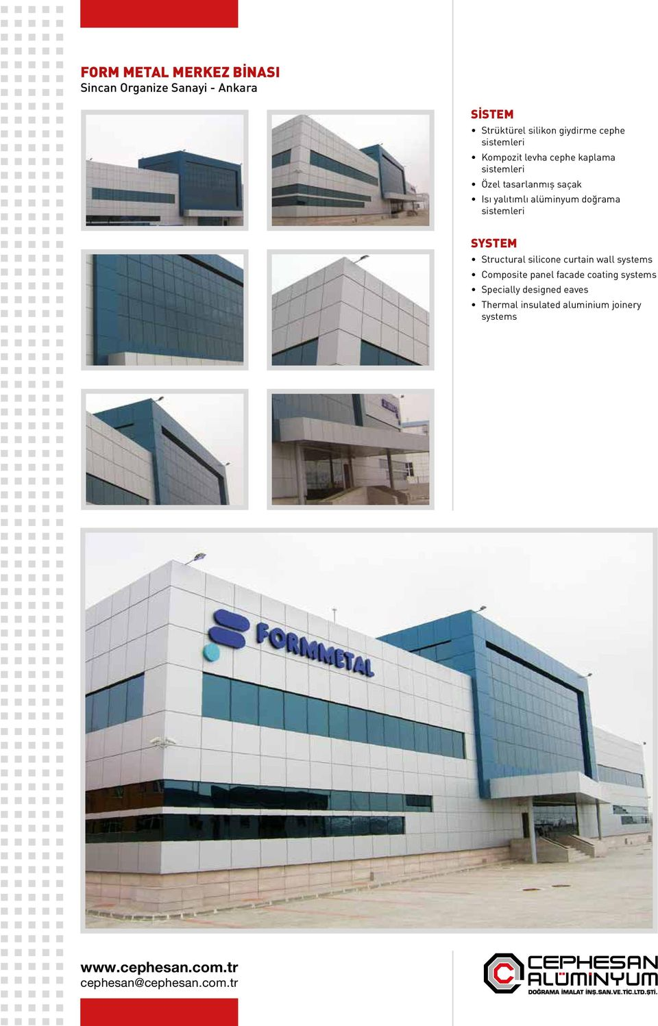 alüminyum doğrama Structural silicone curtain wall systems Composite panel