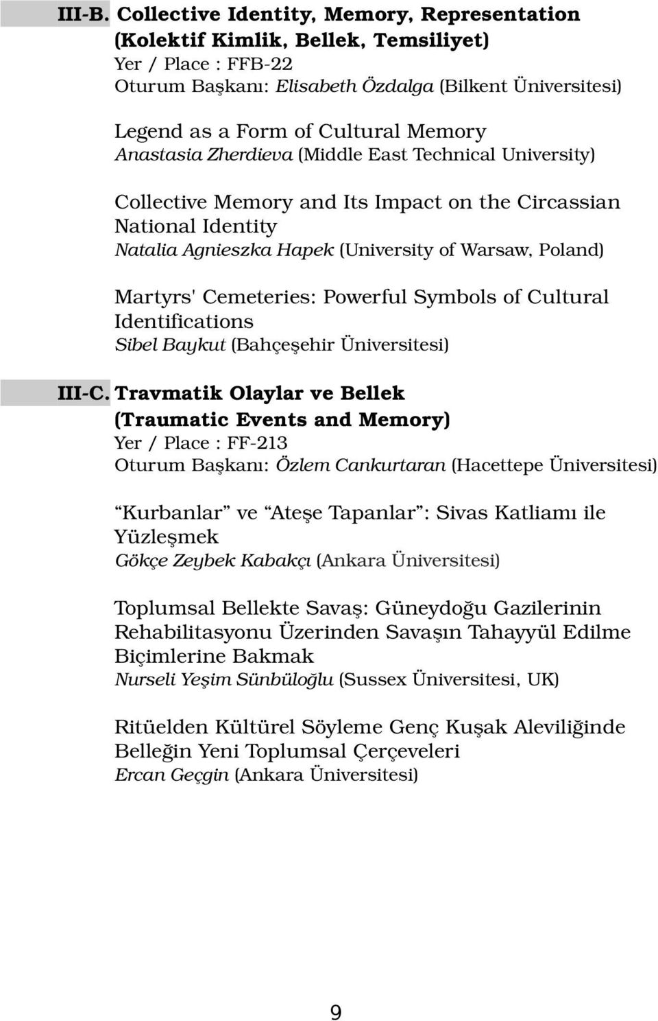 Anastasia Zherdieva (Middle East Technical University) Collective Memory and Its Impact on the Circassian National Identity Natalia Agnieszka Hapek (University of Warsaw, Poland) Martyrs' Cemeteries: