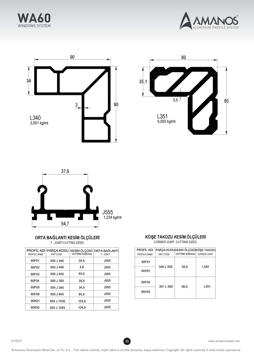 SIZES KÖŞE TAKOZU KESİM ÖLÇÜLERİ CORNER JOINT CUTTING SIZES PROFILE