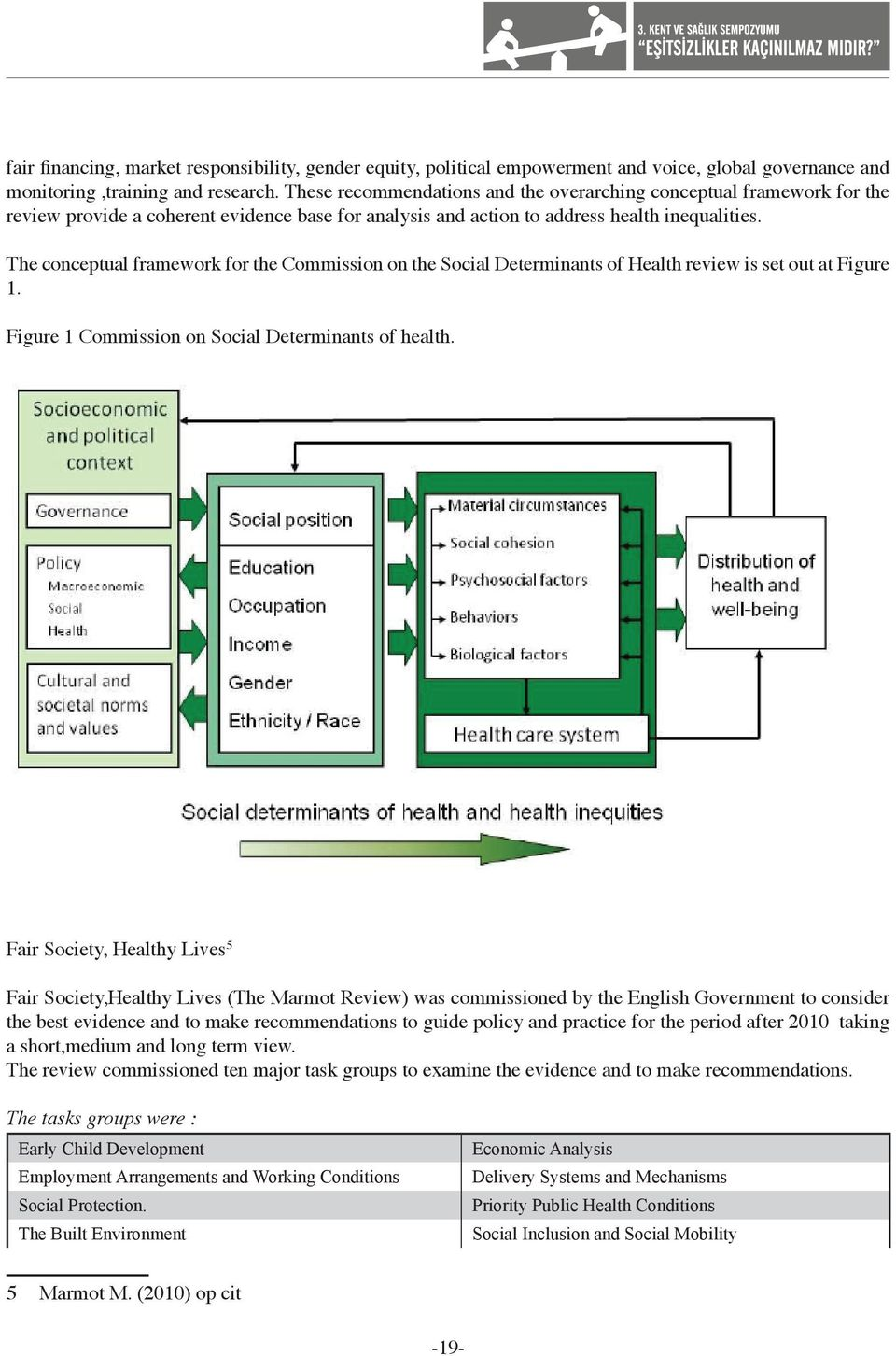 The conceptual framework for the Commission on the Social Determinants of Health review is set out at Figure 1. Figure 1 Commission on Social Determinants of health.