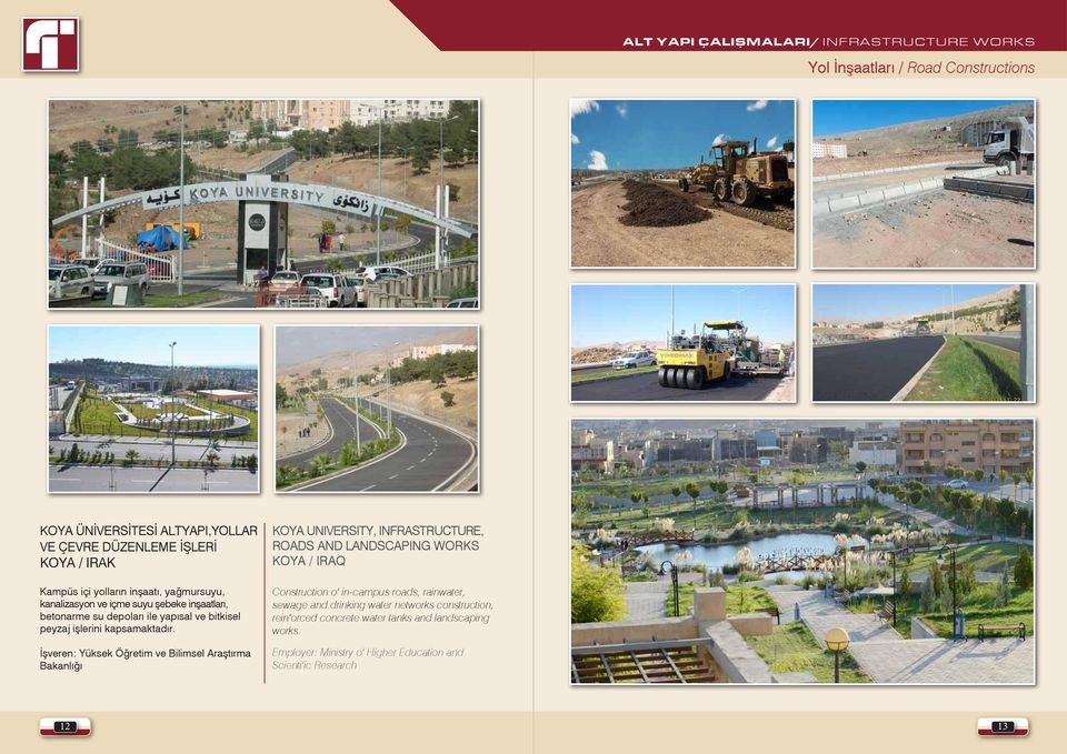 İşveren: Yüksek Öğretim ve Bilimsel Araştırma Bakanlığı Koya University, Infrastructure, Roads and Landscaping Works Koya / IRAQ Construction of in-campus roads,