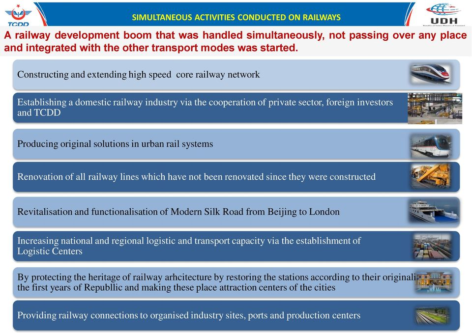urban rail systems Renovation of all railway lines which have not been renovated since they were constructed Revitalisation and functionalisation of Modern Silk Road from Beijing to London Increasing