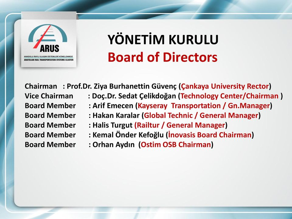 Sedat Çelikdoğan (Technology Center/Chairman ) Board Member : Arif Emecen (Kayseray Transportation / Gn.