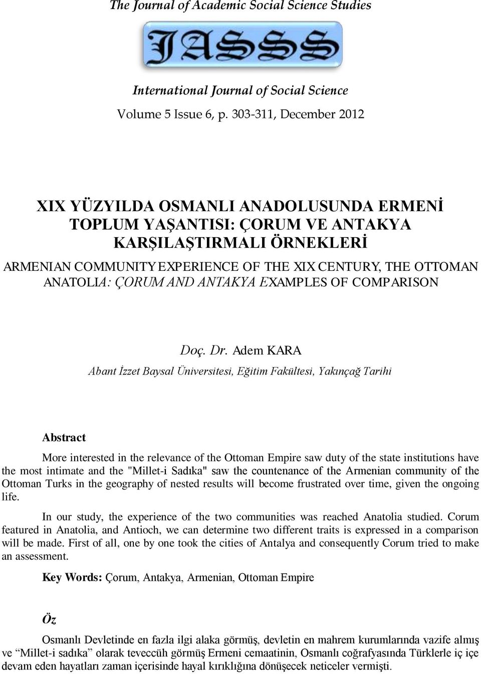 ÇORUM AND ANTAKYA EXAMPLES OF COMPARISON Doç. Dr.