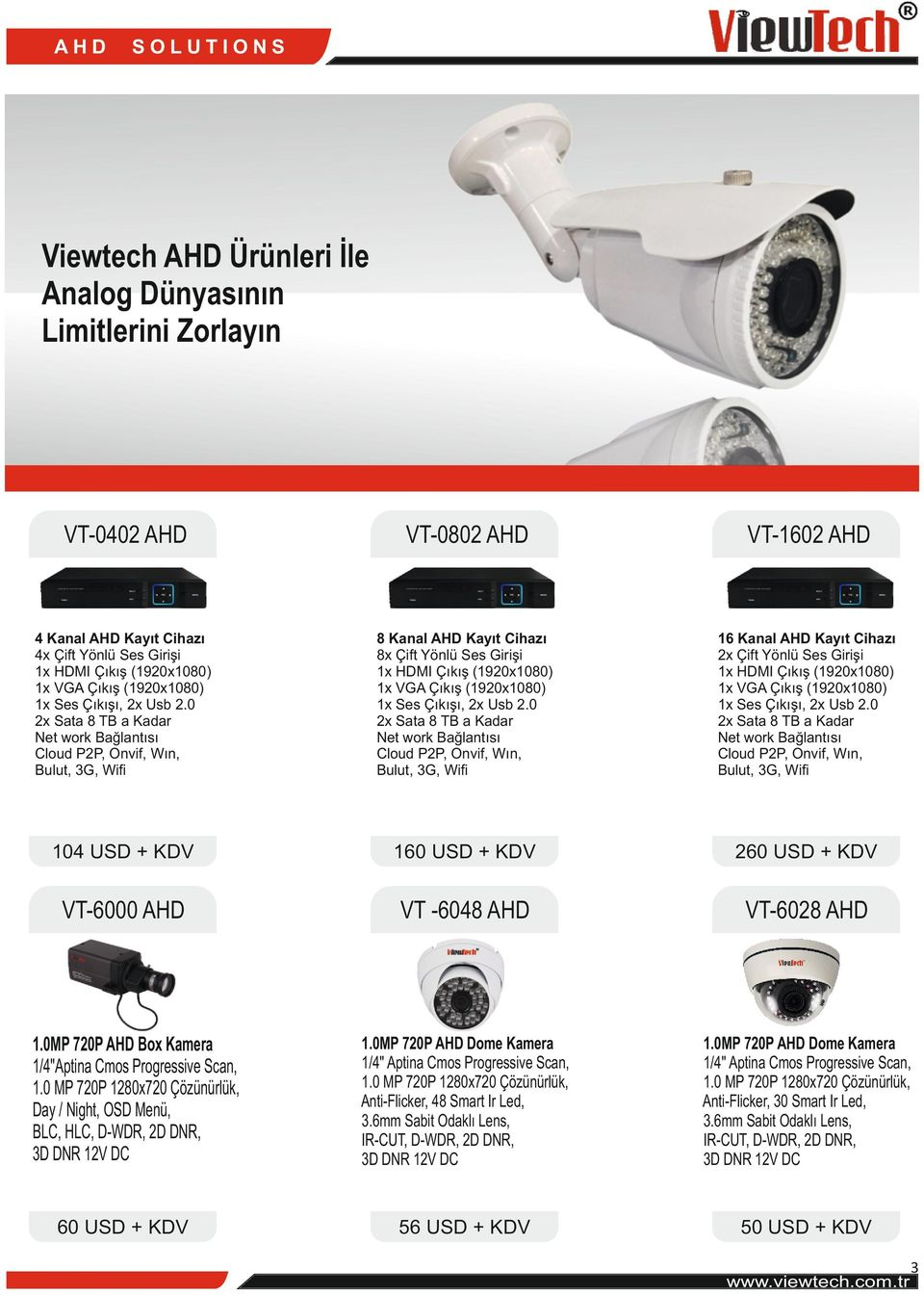 USD + KDV 260 USD + KDV VT-6000 AHD VT -6048 AHD VT-6028 AHD 1.0MP 720P AHD Dome Kamera Anti-Flicker, 48 Smart Ir Led, 3D DNR 12V DC 1.