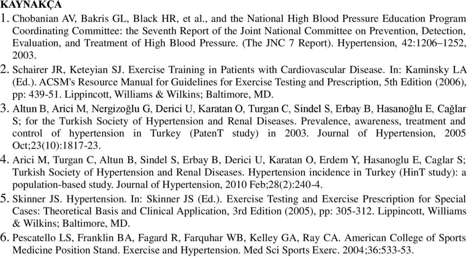 Pressure. (The JNC 7 Report). Hypertension, 42:1206 1252, 2003. 2. Schairer JR, Keteyian SJ. Exercise Training in Patients with Cardiovascular Disease. In: Kaminsky LA (Ed.). ACSM's Resource Manual for Guidelines for Exercise Testing and Prescription, 5th Edition (2006), pp: 439-51.
