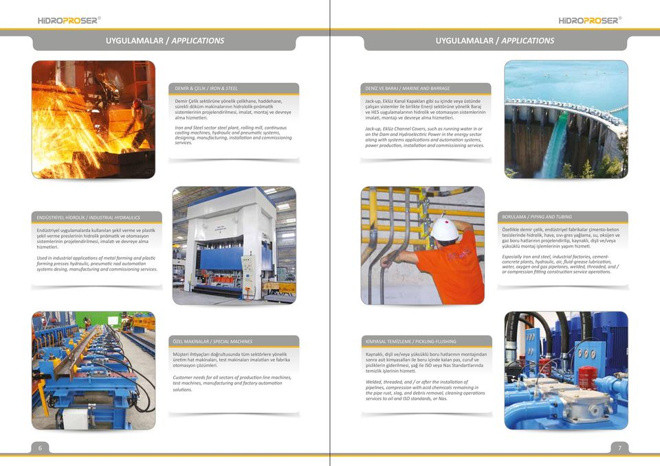 Iron and Steel sector steel plant, rolling mill, continuous casting machines, hydraulic and pneumatic systems, designing, manufacturing, installation and commissioning services.
