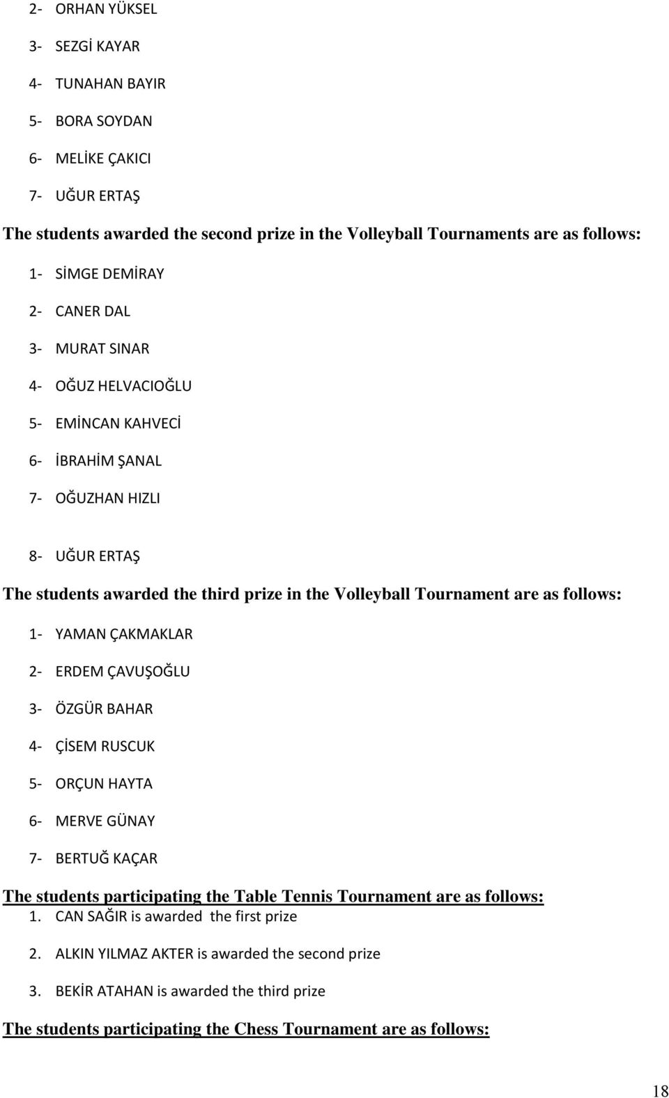 follows: 1 YAMAN ÇAKMAKLAR 2 ERDEM ÇAVUŞOĞLU 3 ÖZGÜR BAHAR 4 ÇİSEM RUSCUK 5 ORÇUN HAYTA 6 MERVE GÜNAY 7 BERTUĞ KAÇAR The students participating the Table Tennis Tournament are as follows: