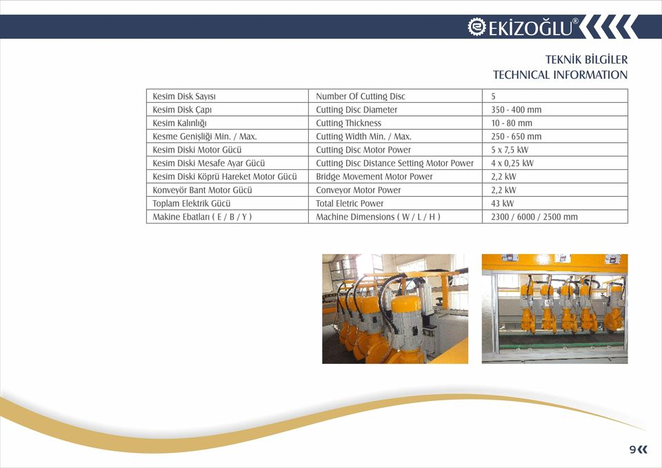 E / B / Y ) Number Of Cutting Disc Cutting Disc Diameter Cutting Thickness Cutting Width Min. / Max.