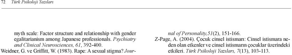 Rape: A sexual stigma? Journal of Personality,51(2), 151-166. Z-Page, A. (2004).