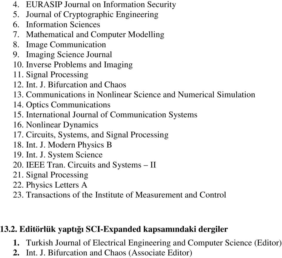 International Journal of Communication Systems 16. Nonlinear Dynamics 17. Circuits, Systems, and Signal Processing 18. Int. J. Modern Physics B 19. Int. J. System Science 20. IEEE Tran.