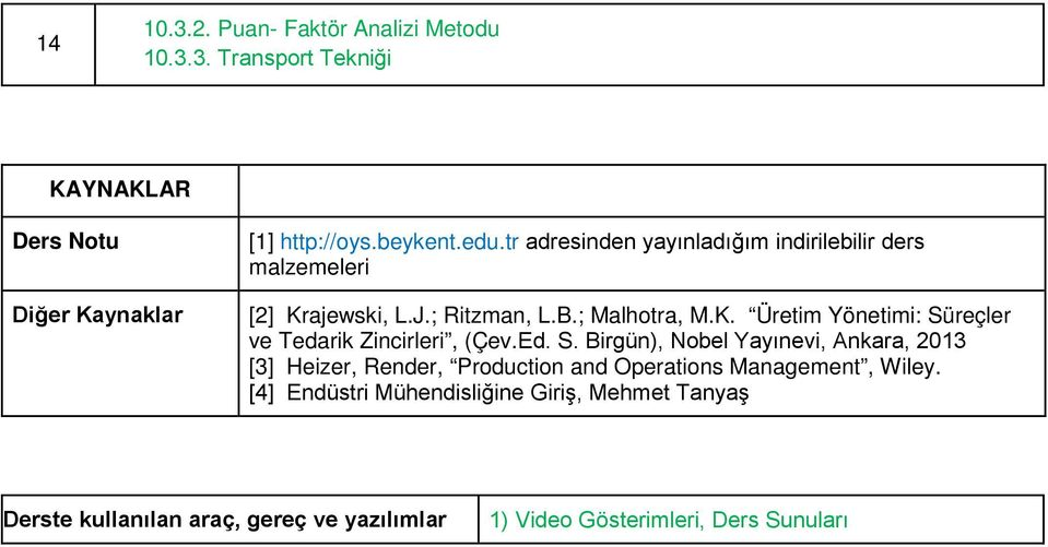 Ed. S. Birgün), Nobel Yayınevi, Ankara, 2013 [3] Heizer, Render, Production and Operations Management, Wiley.