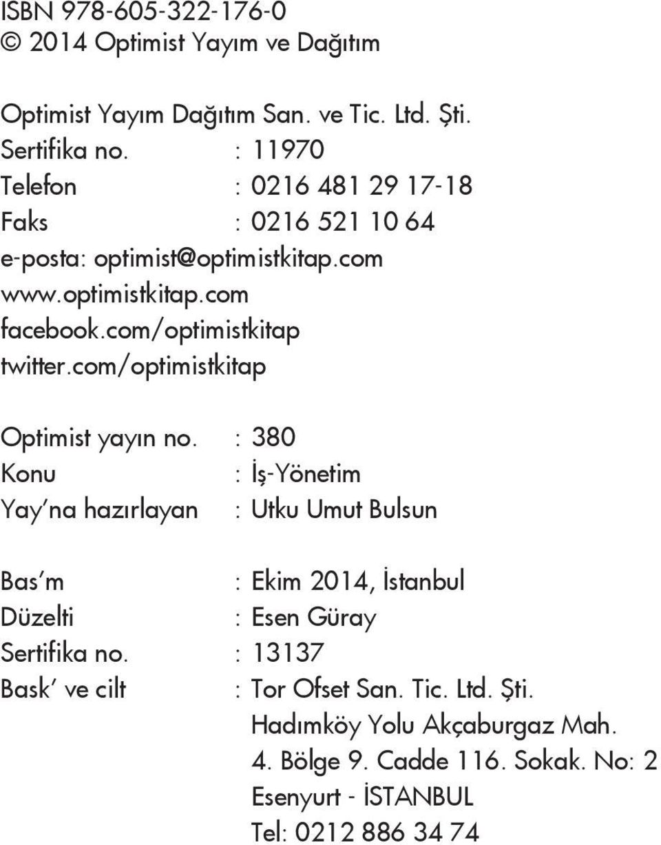 com/optimistkitap twitter.com/optimistkitap Optimist yayın no.