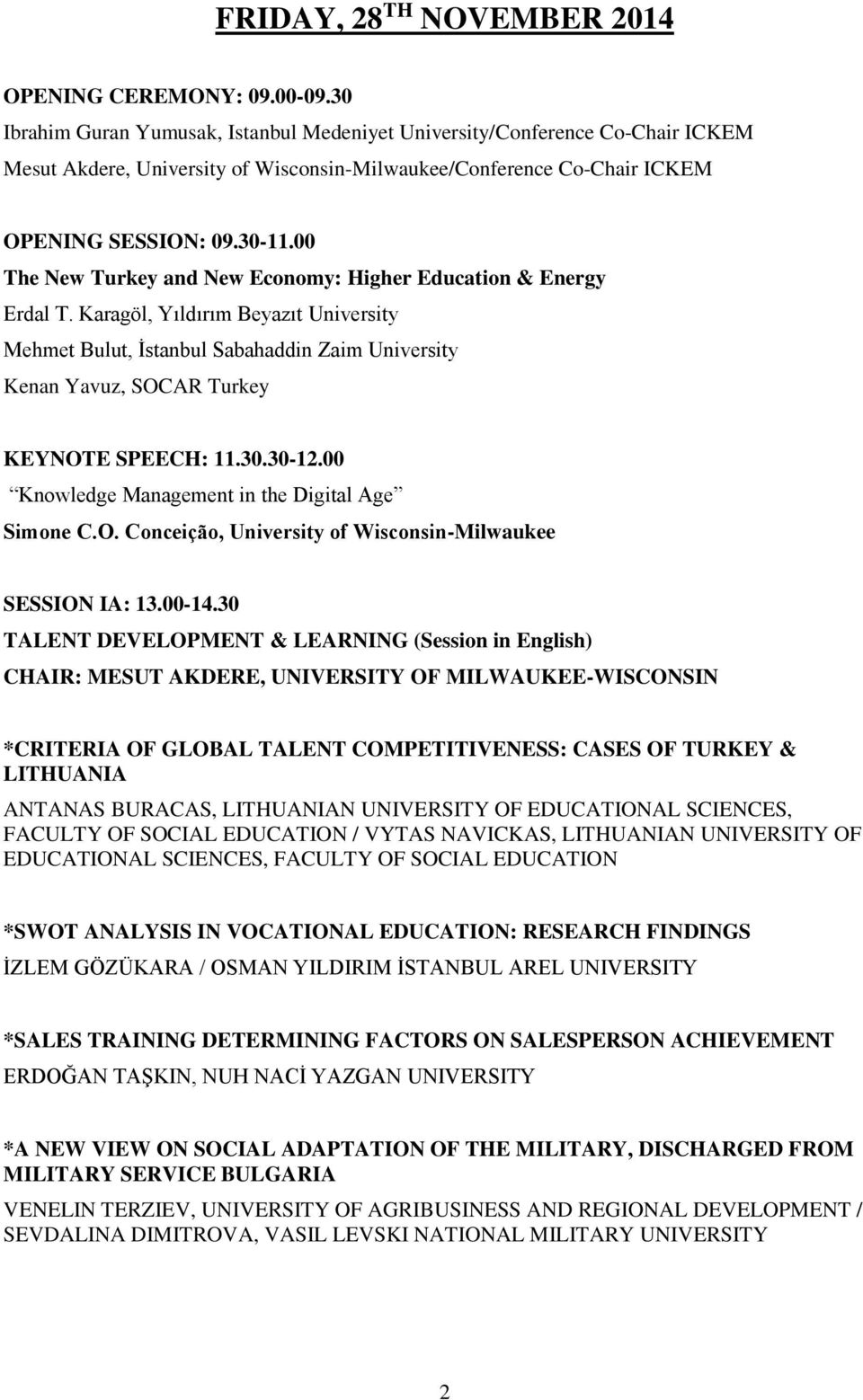00 The New Turkey and New Economy: Higher Education & Energy Erdal T.