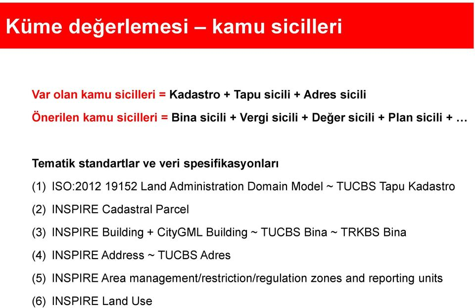 Administration Domain Model ~ TUCBS Tapu Kadastro (2) INSPIRE Cadastral Parcel (3) INSPIRE Building + CityGML Building ~ TUCBS Bina