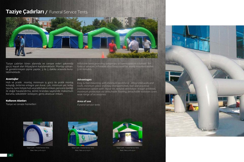 Inflatable structures could be easily mounted within 5-10 minutes.