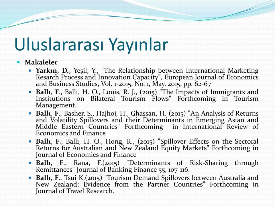 ", Ballı, H. O., Louis, R. J., (2015) ""The Impacts of Immigrants and Institutions on Bilateral Tourism Flows"" Forthcoming in Tourism Management. Ballı, F., Basher, S., Hajhoj, H., Ghassan, H."