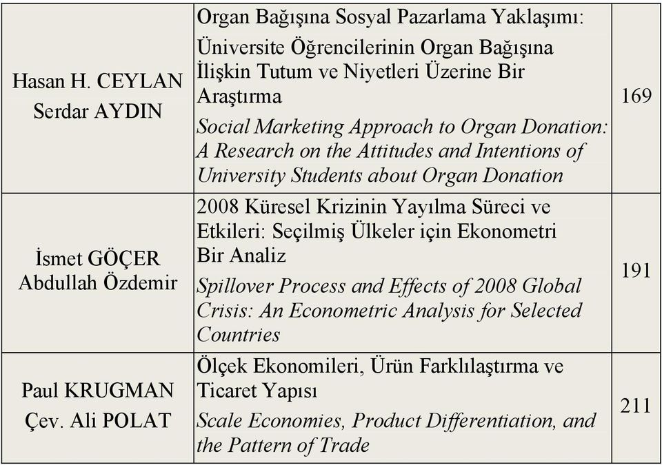 to Organ Donation: A Research on the Attitudes and Intentions of University Students about Organ Donation 2008 Küresel Krizinin Yayılma Süreci ve Etkileri: Seçilmiş