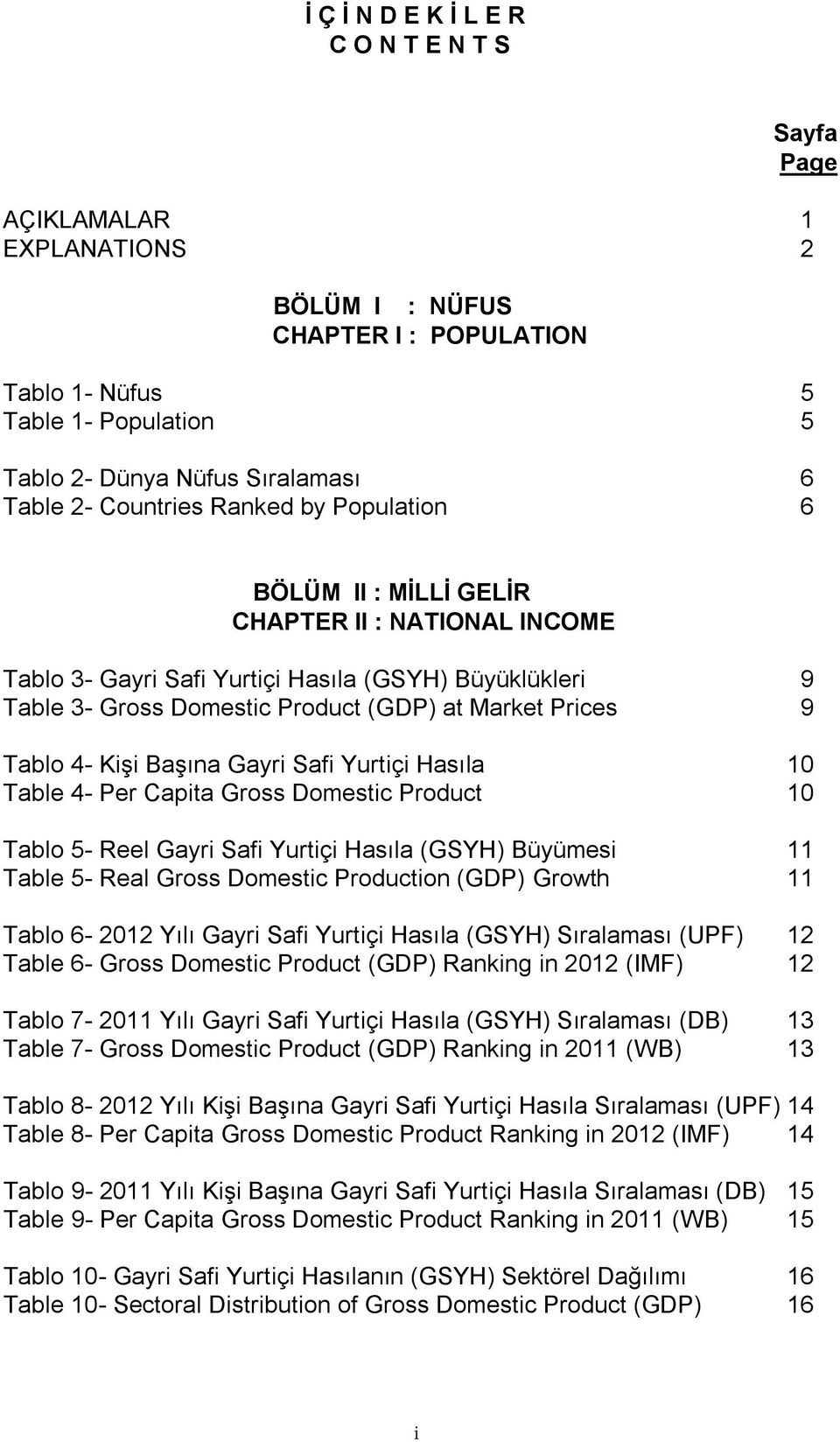 Tablo 4- Kişi Başına Gayri Safi Yurtiçi Hasıla 10 Table 4- Per Capita Gross Domestic Product 10 Tablo 5- Reel Gayri Safi Yurtiçi Hasıla (GSYH) Büyümesi 11 Table 5- Real Gross Domestic Production