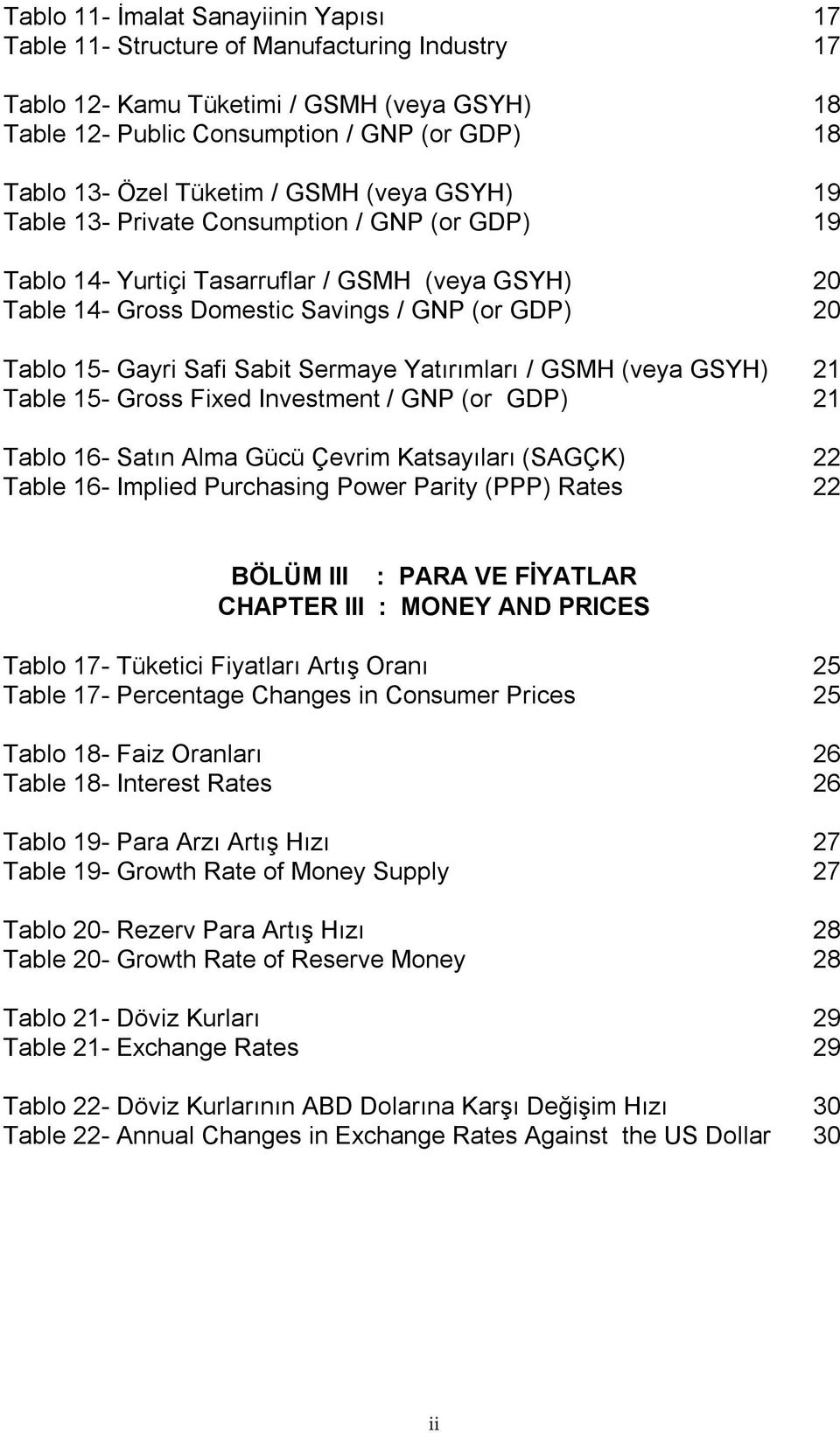 Safi Sabit Sermaye Yatırımları / GSMH (veya GSYH) 21 Table 15- Gross Fixed Investment / GNP (or GDP) 21 Tablo 16- Satın Alma Gücü Çevrim Katsayıları (SAGÇK) 22 Table 16- Implied Purchasing Power