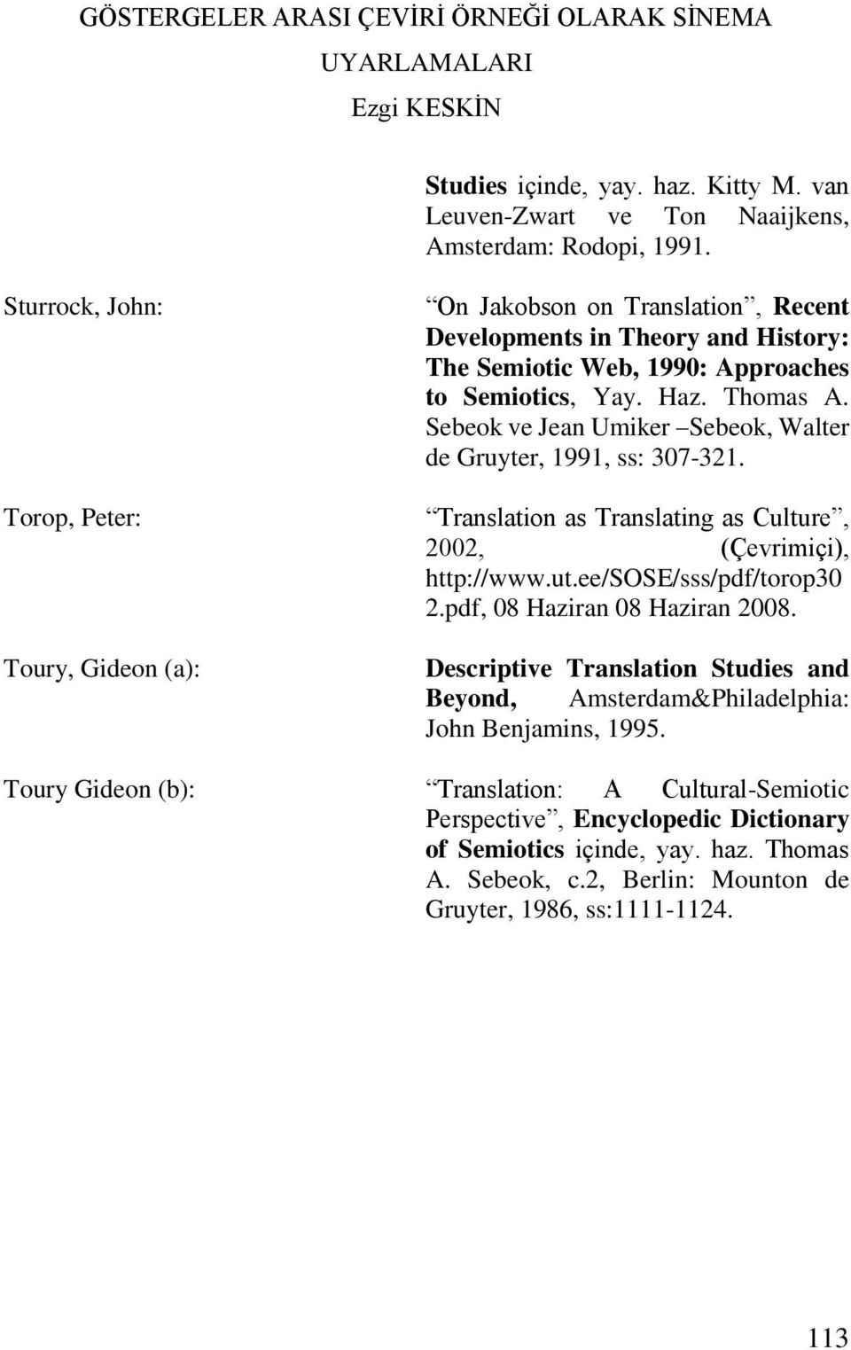 Sebeok ve Jean Umiker Sebeok, Walter de Gruyter, 1991, ss: 307-321. Translation as Translating as Culture, 2002, (Çevrimiçi), http://www.ut.ee/sose/sss/pdf/torop30 2.
