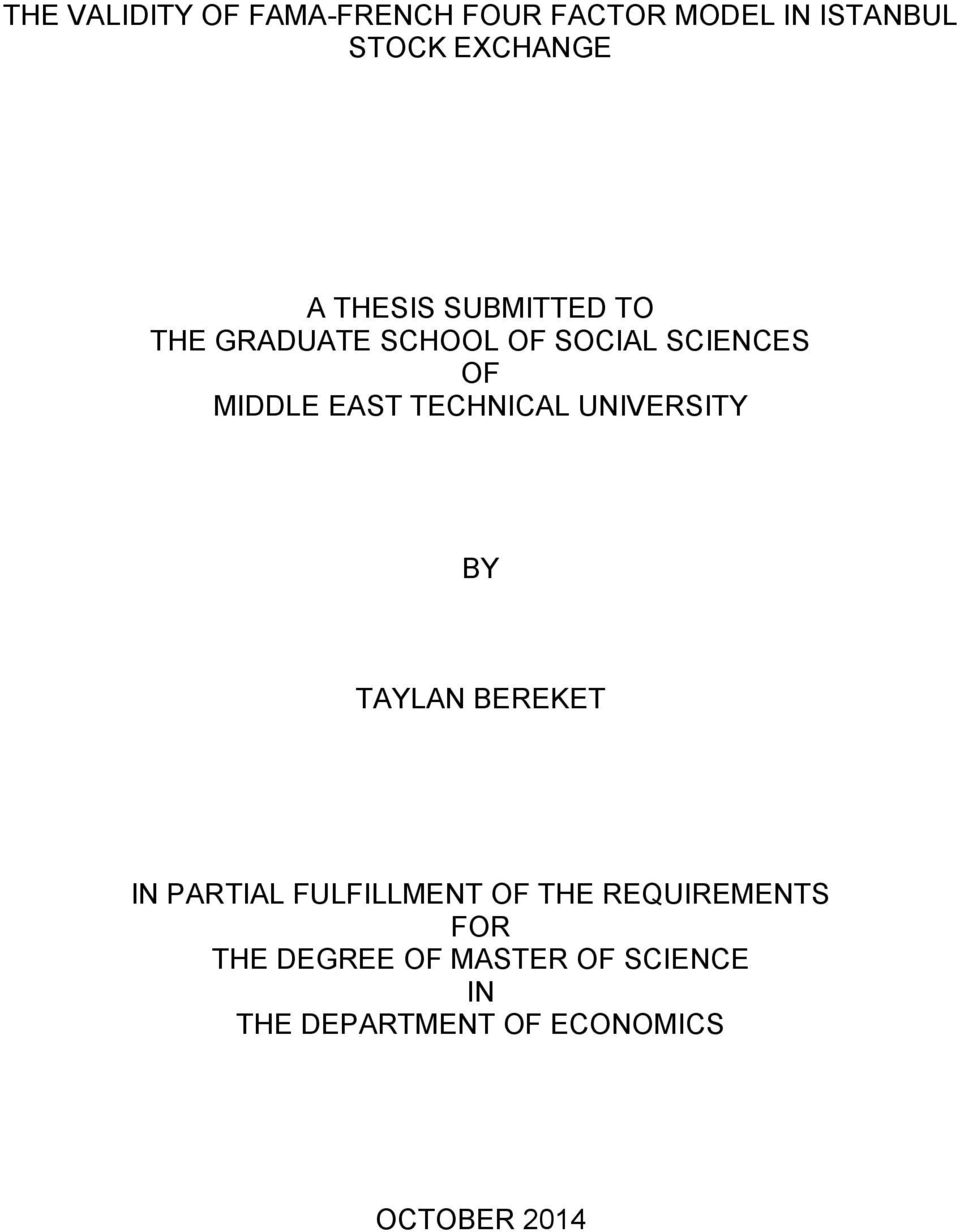 TECHNICAL UNIVERSITY BY TAYLAN BEREKET IN PARTIAL FULFILLMENT OF THE