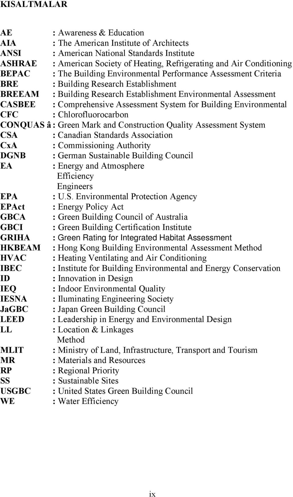Assessment System for Building Environmental CFC : Chlorofluorocarbon CONQUAS â : Green Mark and Construction Quality Assessment System CSA : Canadian Standards Association CxA : Commissioning