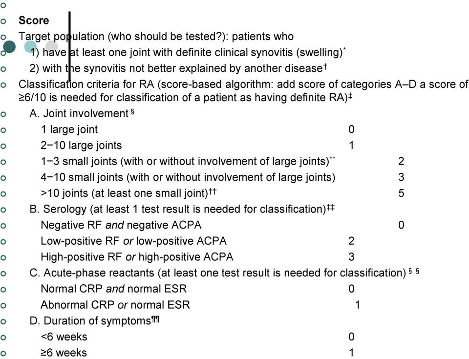 algorithm: add score of categories A D a score of 6/10 is needed for classification of a patient as having definite RA) A.